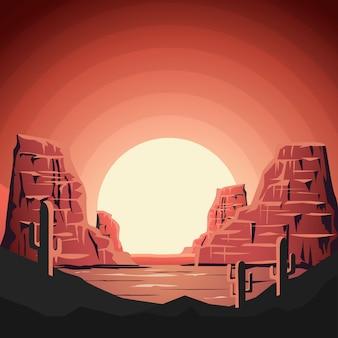 Landschap van woestijn met bergen in stijl. element voor poster, banner.