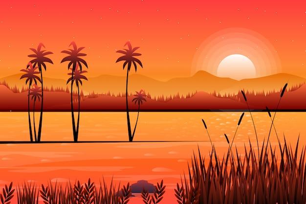 Landschap van zonsonderganghemel met rivier en bergachtergrond