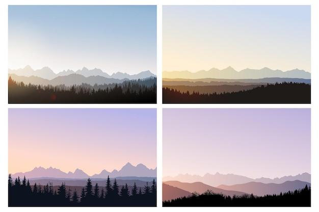 Landschap vector illustratie ochtend bergen bos bij zonsopgang silhouetten van bomen en heuvels