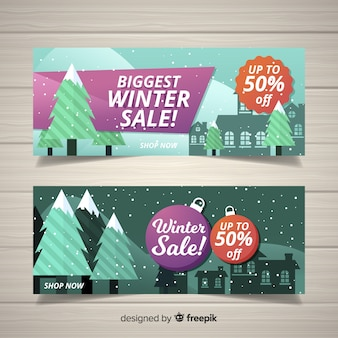 Landschap winter verkoop banner
