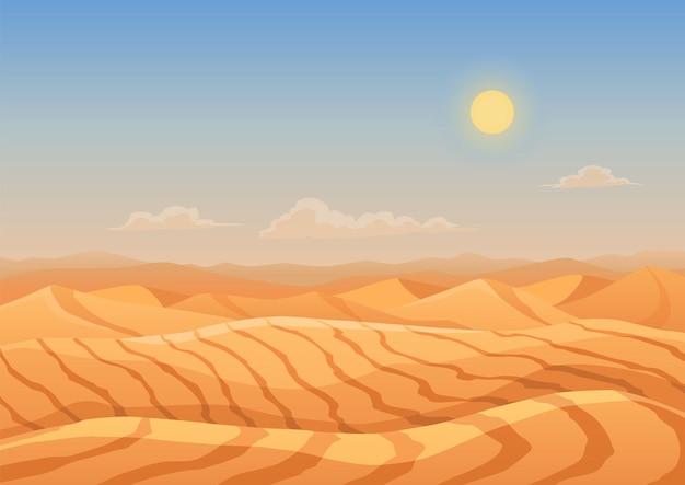 Landschap woestijn duinen. bergen van zand. cartoon droge woestijn onder zon, eindeloze zandwoestijn. natuur achtergrond, vectorillustratie.