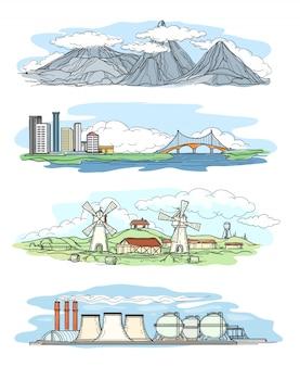 Landschappen in de hand tekenen stijl.