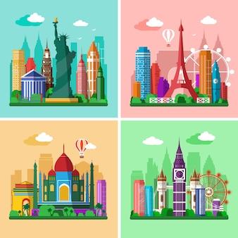 Landschappen in vlakke stijl van londen, parijs, new york en delhi met bezienswaardigheden.