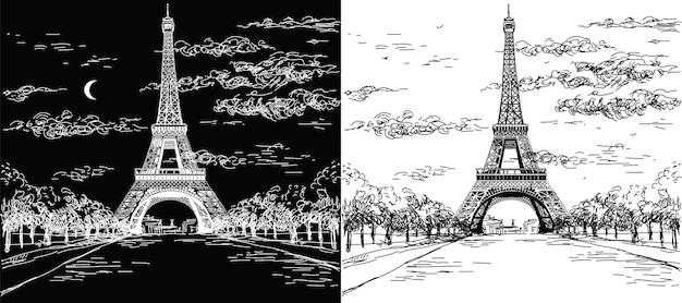 Landschappen met eiffeltoren in zwart-witte kleuren