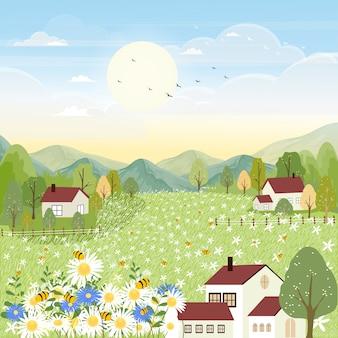 Landschappen van schattige cartoon boerderij veld in de herfst met bijen verzamelen stuifmeel op bloemen.