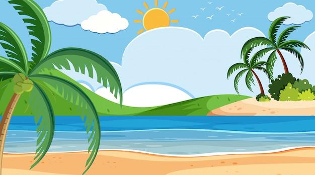 Landschaps achtergrondontwerp van kust op zonnige dag