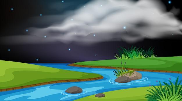 Landschaps achtergrondontwerp van rivier bij nacht