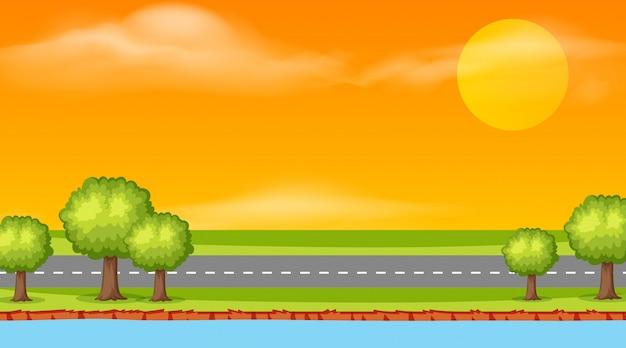 Landschaps achtergrondontwerp van weg bij zonsondergang