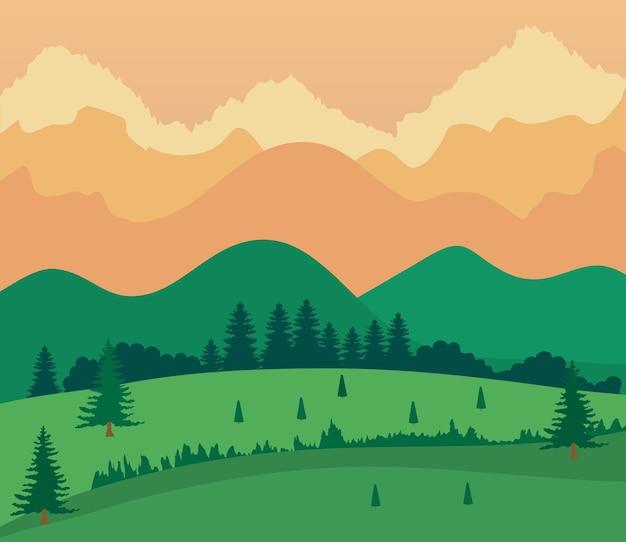 Landschapsaard met grasveld, bergen en oranje hemel.