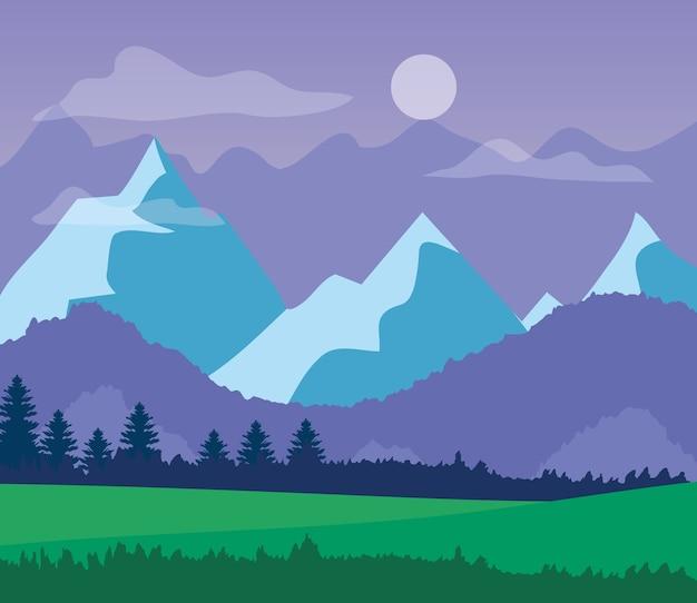 Landschapsaard met grasveld, bergen en paarse lucht.