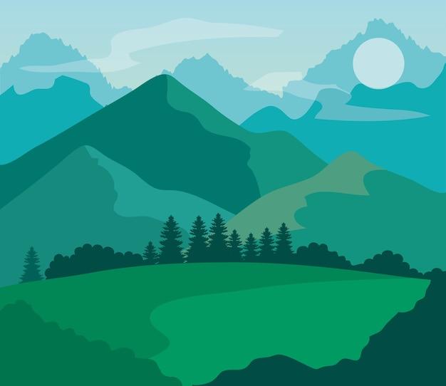 Landschapsaard met grasveld en bergen.