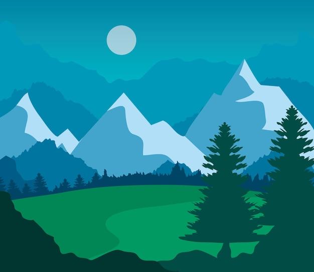 Landschapsaard met grasveld, pijnbomen en bergen.