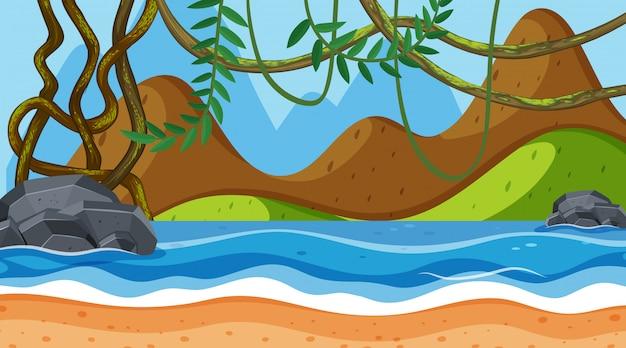 Landschapsachtergrond met bergen en oceaan