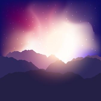 Landschapsachtergrond met bergen tegen een zonsonderganghemel