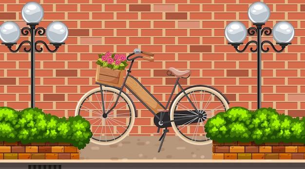 Landschapsachtergrond met fiets op de weg