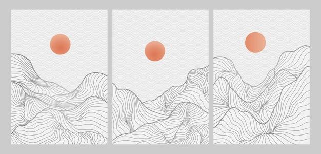 Landschapsachtergrond met het patroonvector van de lijnkunst. abstracte bergsjabloon met geometrisch patroon