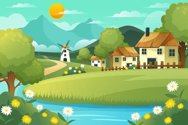 Landschapsachtergrond met kleurovergang bij daglicht