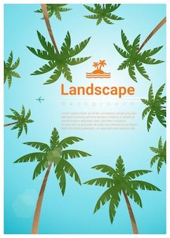Landschapsachtergrond met palmen bij tropisch strand en tekstsjabloon