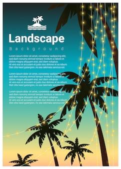 Landschapsachtergrond met palmen bij tropische strandpartij