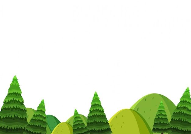 Landschapsachtergrond van groene heuvels en pijnboombomen