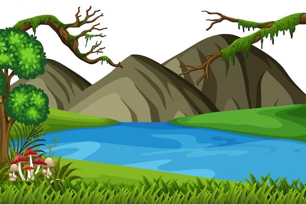 Landschapsachtergrond van grote bergen en rivier
