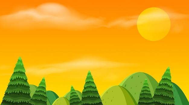Landschapsachtergrond van heuvels en zonsondergang