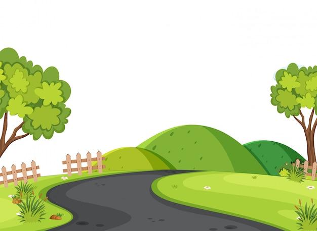 Landschapsachtergrond van lege weg in platteland