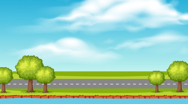 Landschapsachtergrond van lege weg langs rivier