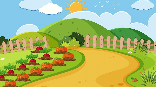 Landschapsachtergrond van moestuin