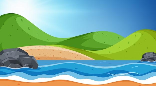 Landschapsachtergrond van oceaan en heuvels