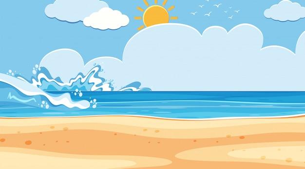 Landschapsachtergrond van oceaan met grote golven
