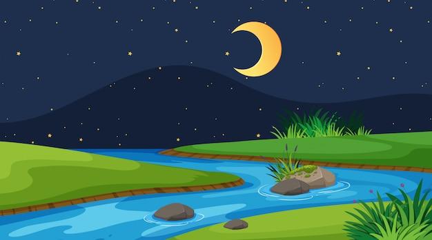 Landschapsachtergrond van rivier bij nacht