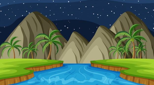 Landschapsachtergrond van rivier en bergen bij nacht