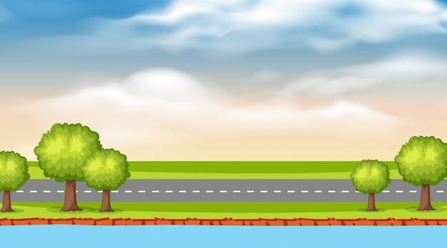 Landschapsachtergrond van rivier en weg