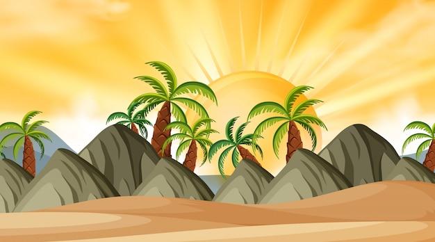 Landschapsachtergrond van strand bij zonsondergang