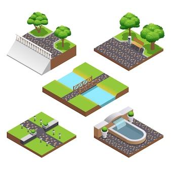 Landschapsarchitectuur van isometrische composities met zomerbomen