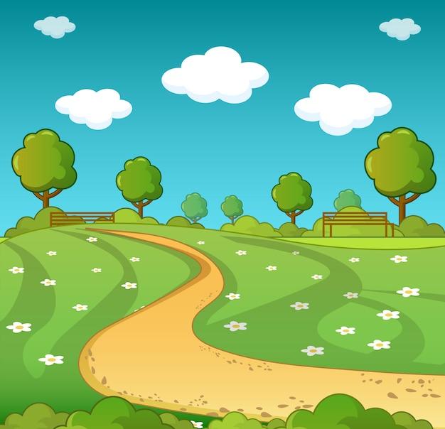 Landschapsconcept, cartoonstijl
