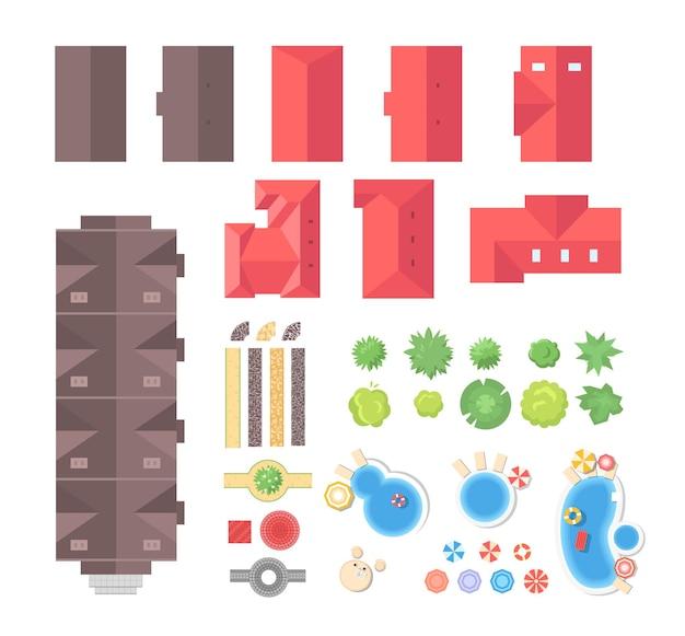 Landschapselementen - set van moderne vectorobjecten geïsoleerd op een witte achtergrond voor het maken van uw eigen afbeeldingen. kleurrijke daken, bomen, struiken, stranden, wegen, tenten. positie bovenaanzicht