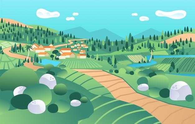 Landschapsmening in platteland, met berg, vallei, huizen, rivier, boom, padieveld vectorillustratie