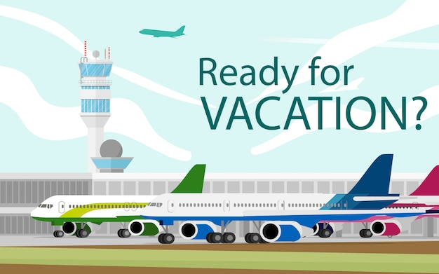 Landschapsmening van de luchthaventerminal en luchtverkeersleidingstoren met vliegtuig terwijl taxi en start van de luchthaven in de dagtijd met exemplaarruimte voor tekst in de hemel
