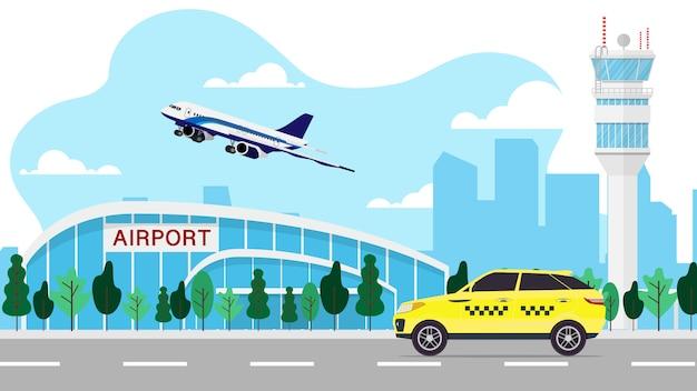 Landschapsmening van de luchthaventerminal met luchtverkeerscontrole toren met vliegtuig en taxi