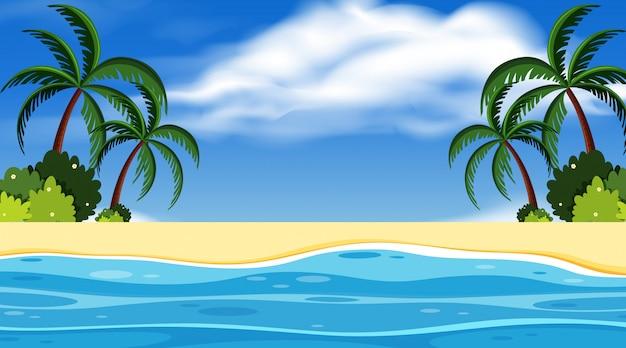 Landschapsontwerp als achtergrond met oceaan en blauwe hemel