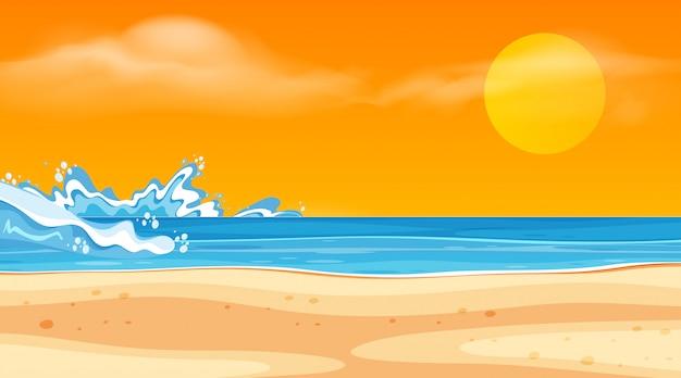 Landschapsontwerp met oceaan en zonsondergang