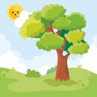 Landschapsscène met boom en zonkarakter