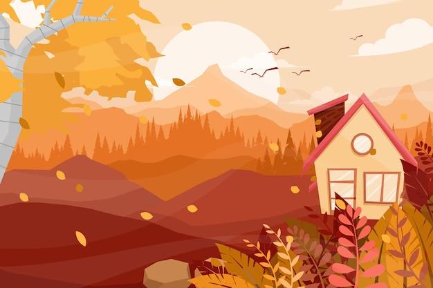 Landschapsscène met landelijke boerderij met schoorsteen, houten huis op het platteland, vlakke cartoonstijl.