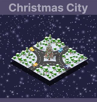 Landschapssneeuw bedekt de isometrische stad