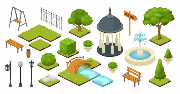 Landschapstuin openlucht natuurelementen in isometrische park illustratie geïsoleerd op wit. tuinieren zomer set