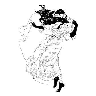 Lang haar vrouw met lange jurk handgetrokken illustratie