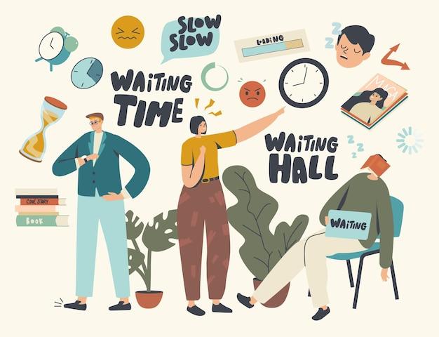 Lang wachten, langzame tijdconcept. moe verveelde mannelijke en vrouwelijke personages te lang wachten in kantoorhal, luchthaven of ziekenhuislobby. mannen en vrouwen kijken op horloge, slapen. cartoon mensen vectorillustratie