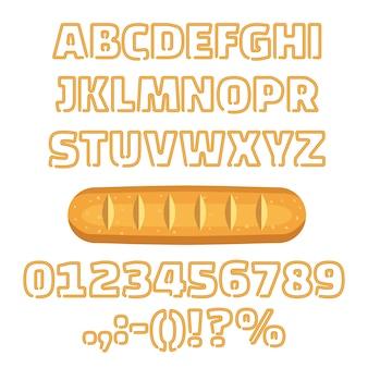Lange brood alfabet nummers vector illustratie